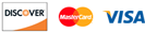 accepted credit cards discover, mastercard, and visa